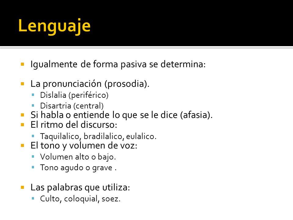 Igualmente de forma pasiva se determina: La pronunciación (prosodia). Dislalia (periférico) Disartria (central) Si habla o entiende lo que se le dice