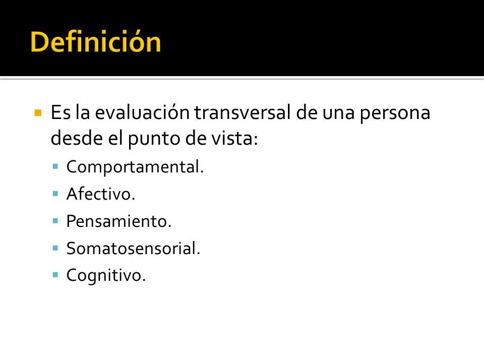 Es la evaluación transversal de una persona desde el punto de vista: Comportamental. Afectivo. Pensamiento. Somatosensorial. Cognitivo.