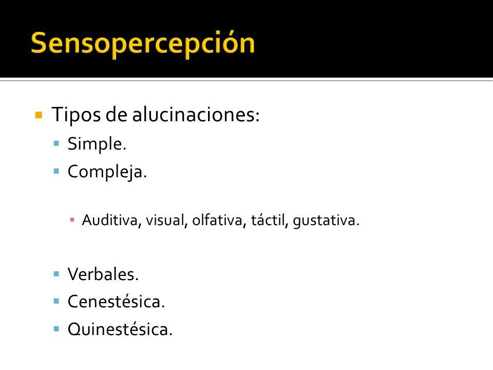 Tipos de alucinaciones: Simple. Compleja. Auditiva, visual, olfativa, táctil, gustativa. Verbales. Cenestésica. Quinestésica.