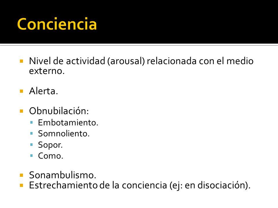 Nivel de actividad (arousal) relacionada con el medio externo. Alerta. Obnubilación: Embotamiento. Somnoliento. Sopor. Como. Sonambulismo. Estrechamie