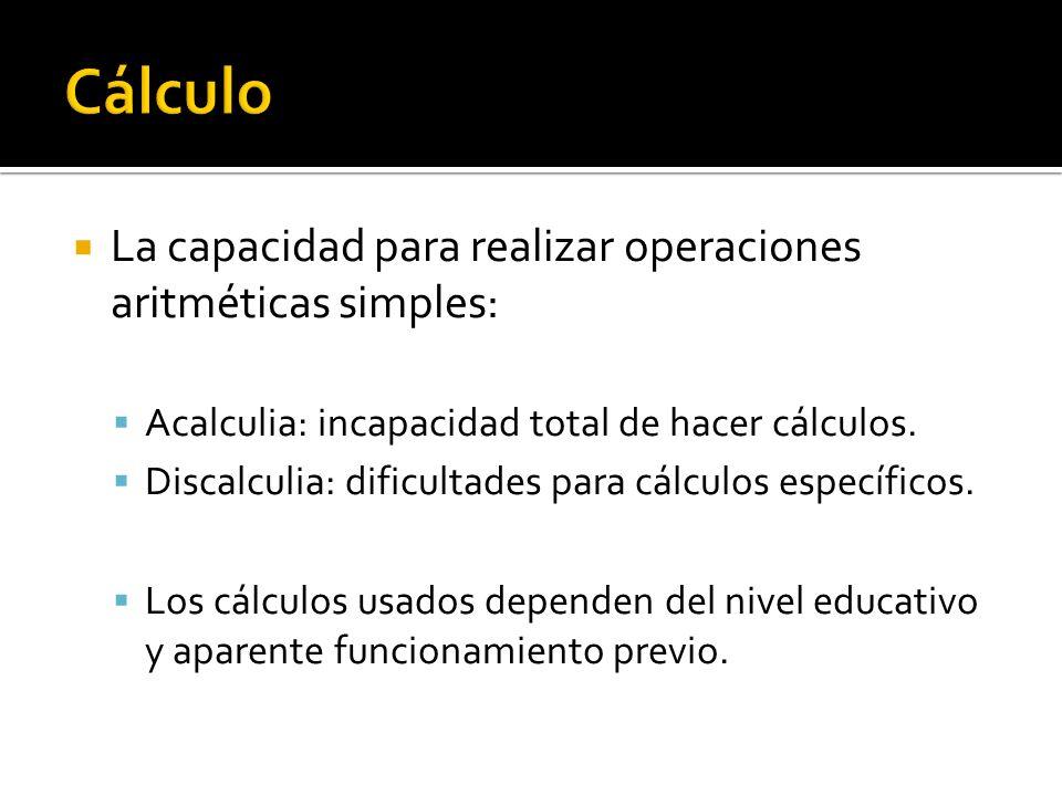 La capacidad para realizar operaciones aritméticas simples: Acalculia: incapacidad total de hacer cálculos. Discalculia: dificultades para cálculos es