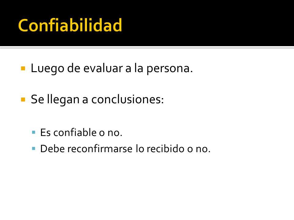 Luego de evaluar a la persona. Se llegan a conclusiones: Es confiable o no. Debe reconfirmarse lo recibido o no.