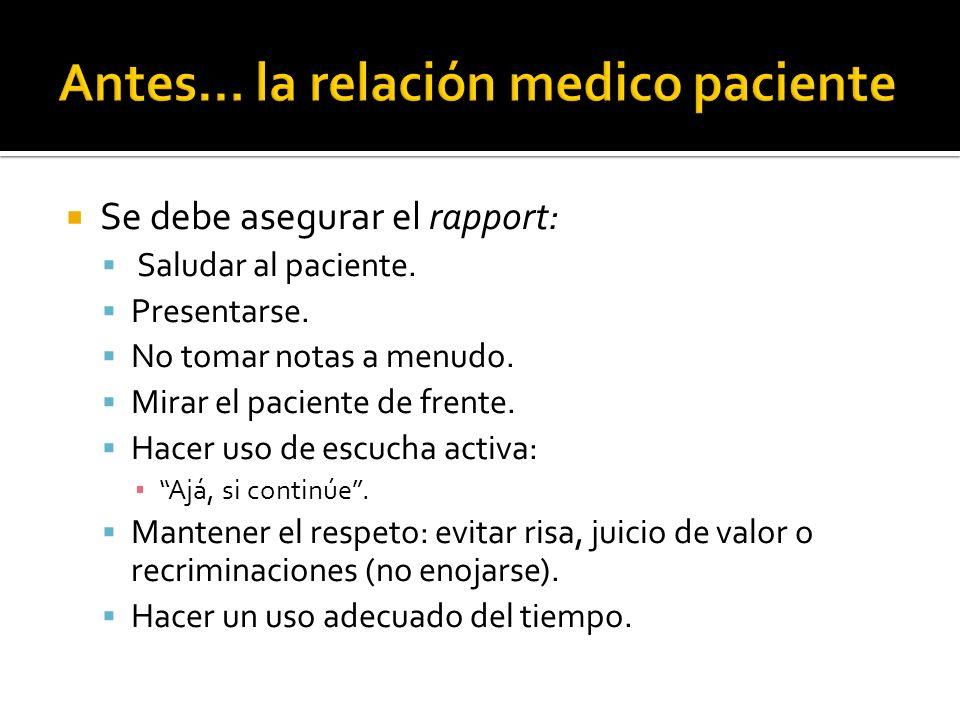 Se debe asegurar el rapport: Saludar al paciente. Presentarse. No tomar notas a menudo. Mirar el paciente de frente. Hacer uso de escucha activa: Ajá,