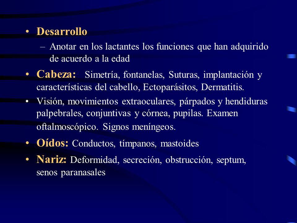 Desarrollo –Anotar en los lactantes los funciones que han adquirido de acuerdo a la edad Cabeza: Simetría, fontanelas, Suturas, implantación y caracte