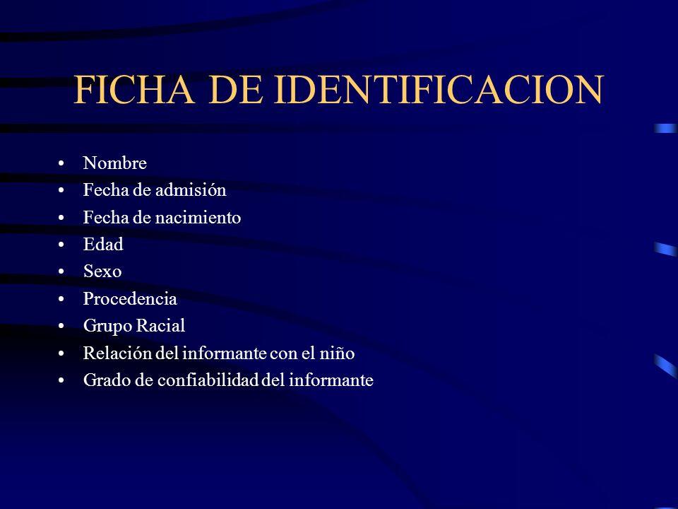 FICHA DE IDENTIFICACION Nombre Fecha de admisión Fecha de nacimiento Edad Sexo Procedencia Grupo Racial Relación del informante con el niño Grado de c