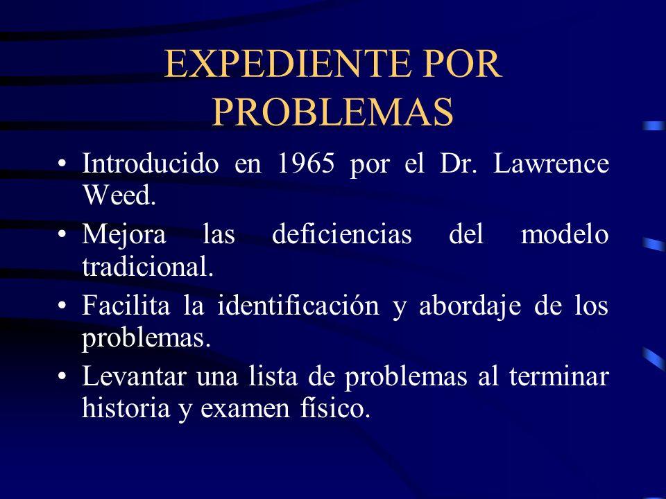 EXPEDIENTE POR PROBLEMAS Introducido en 1965 por el Dr. Lawrence Weed. Mejora las deficiencias del modelo tradicional. Facilita la identificación y ab