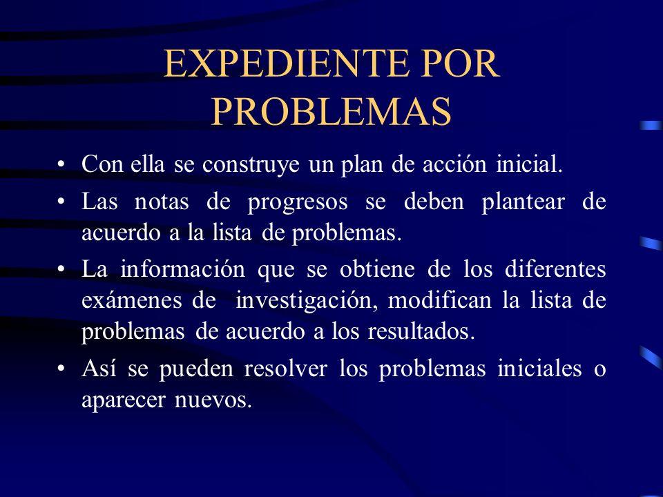 EXPEDIENTE POR PROBLEMAS Con ella se construye un plan de acción inicial. Las notas de progresos se deben plantear de acuerdo a la lista de problemas.