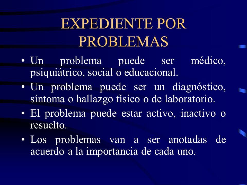 EXPEDIENTE POR PROBLEMAS Un problema puede ser médico, psiquiátrico, social o educacional. Un problema puede ser un diagnóstico, síntoma o hallazgo fí