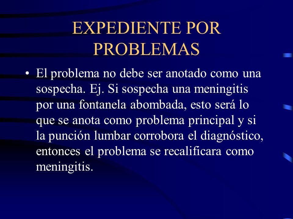 EXPEDIENTE POR PROBLEMAS El problema no debe ser anotado como una sospecha. Ej. Si sospecha una meningitis por una fontanela abombada, esto será lo qu