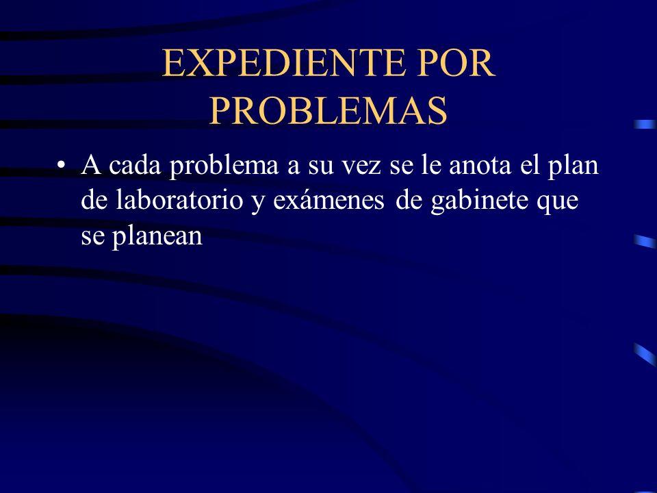 EXPEDIENTE POR PROBLEMAS A cada problema a su vez se le anota el plan de laboratorio y exámenes de gabinete que se planean
