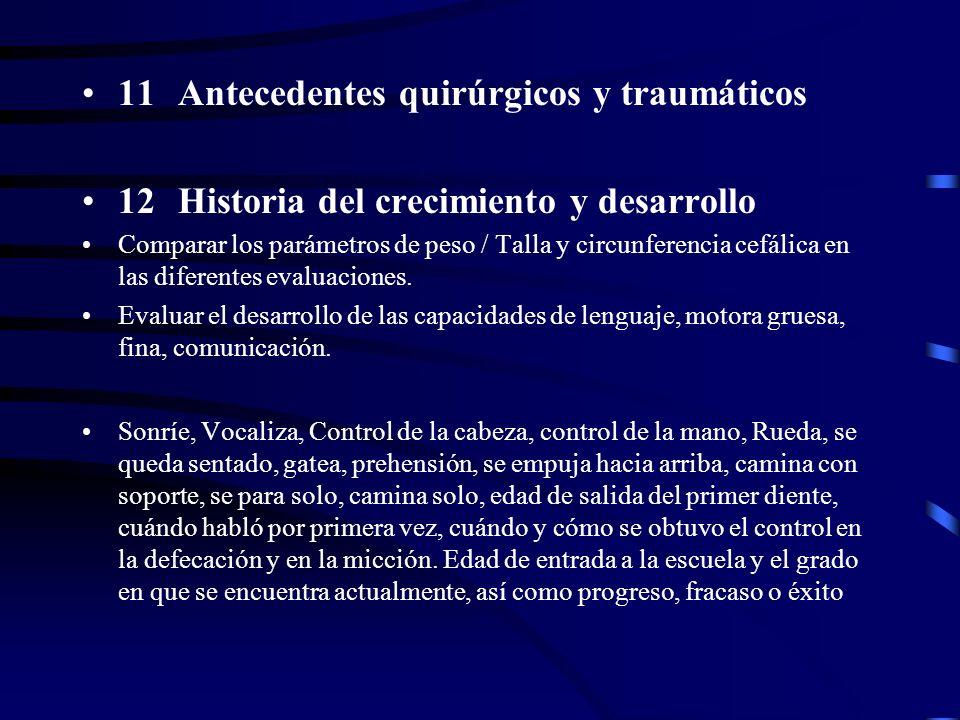 11Antecedentes quirúrgicos y traumáticos 12Historia del crecimiento y desarrollo Comparar los parámetros de peso / Talla y circunferencia cefálica en