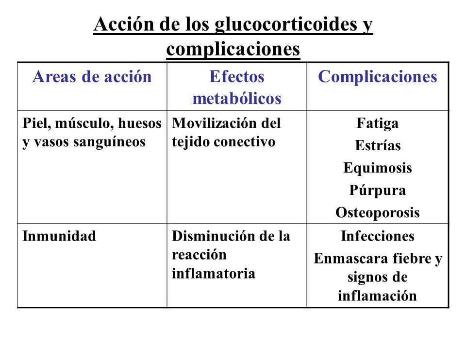 Acción de los glucocorticoides y complicaciones Areas de acciónEfectos metabólicos Complicaciones Piel, músculo, huesos y vasos sanguíneos Movilizació