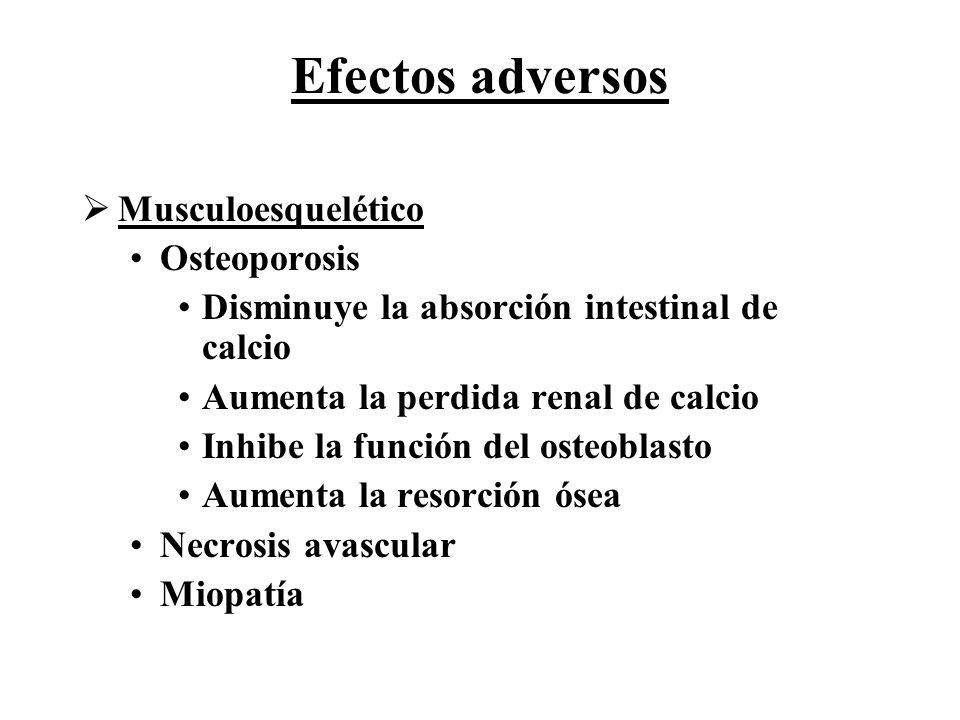 Efectos adversos Musculoesquelético Osteoporosis Disminuye la absorción intestinal de calcio Aumenta la perdida renal de calcio Inhibe la función del