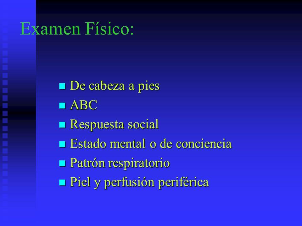 Examen Físico: De cabeza a pies De cabeza a pies ABC ABC Respuesta social Respuesta social Estado mental o de conciencia Estado mental o de conciencia