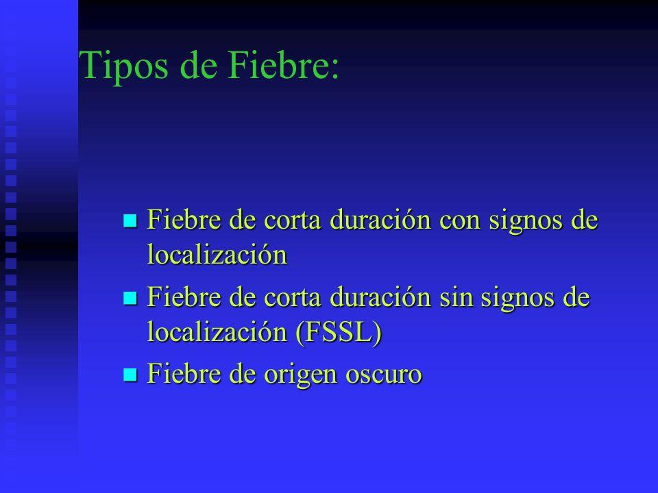 Tipos de Fiebre: Fiebre de corta duración con signos de localización Fiebre de corta duración con signos de localización Fiebre de corta duración sin