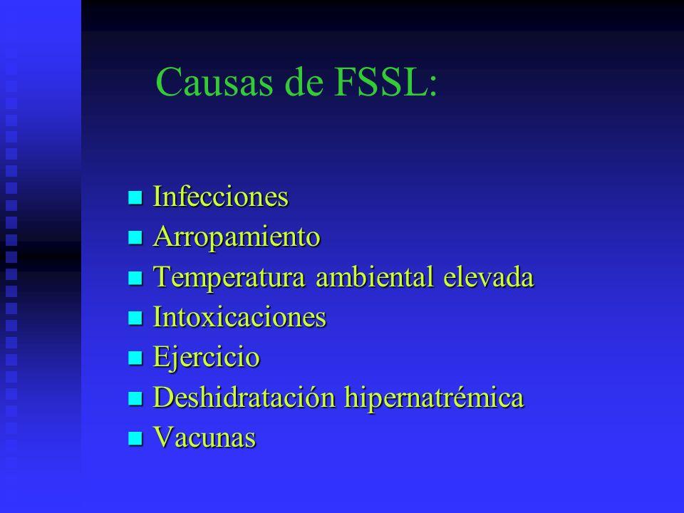 Causas de FSSL: Infecciones Infecciones Arropamiento Arropamiento Temperatura ambiental elevada Temperatura ambiental elevada Intoxicaciones Intoxicac