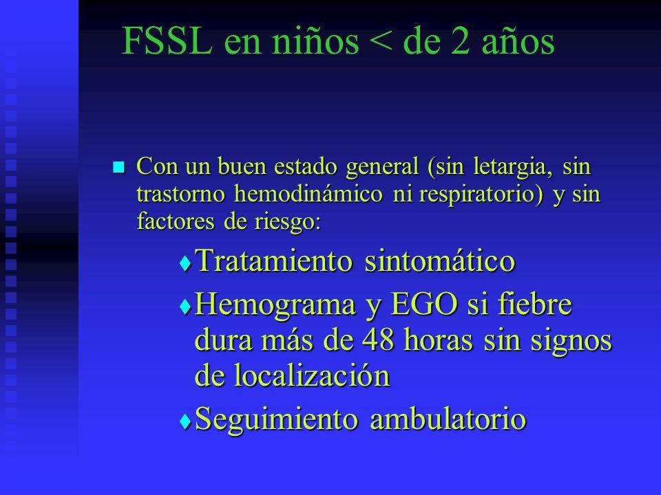 FSSL en niños < de 2 años Con un buen estado general (sin letargia, sin trastorno hemodinámico ni respiratorio) y sin factores de riesgo: Con un buen
