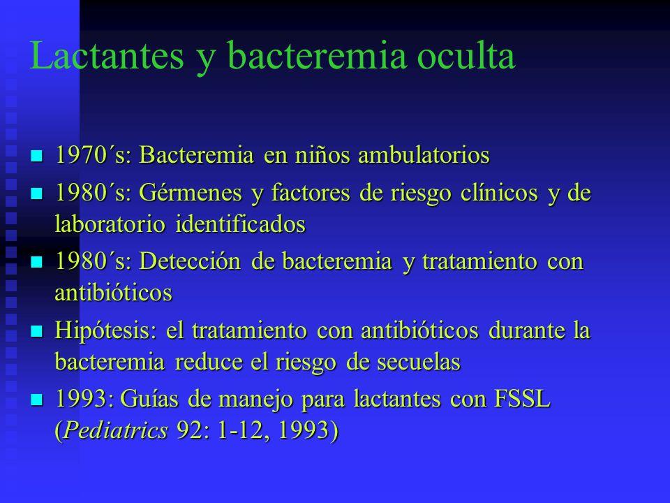 Lactantes y bacteremia oculta 1970´s: Bacteremia en niños ambulatorios 1970´s: Bacteremia en niños ambulatorios 1980´s: Gérmenes y factores de riesgo