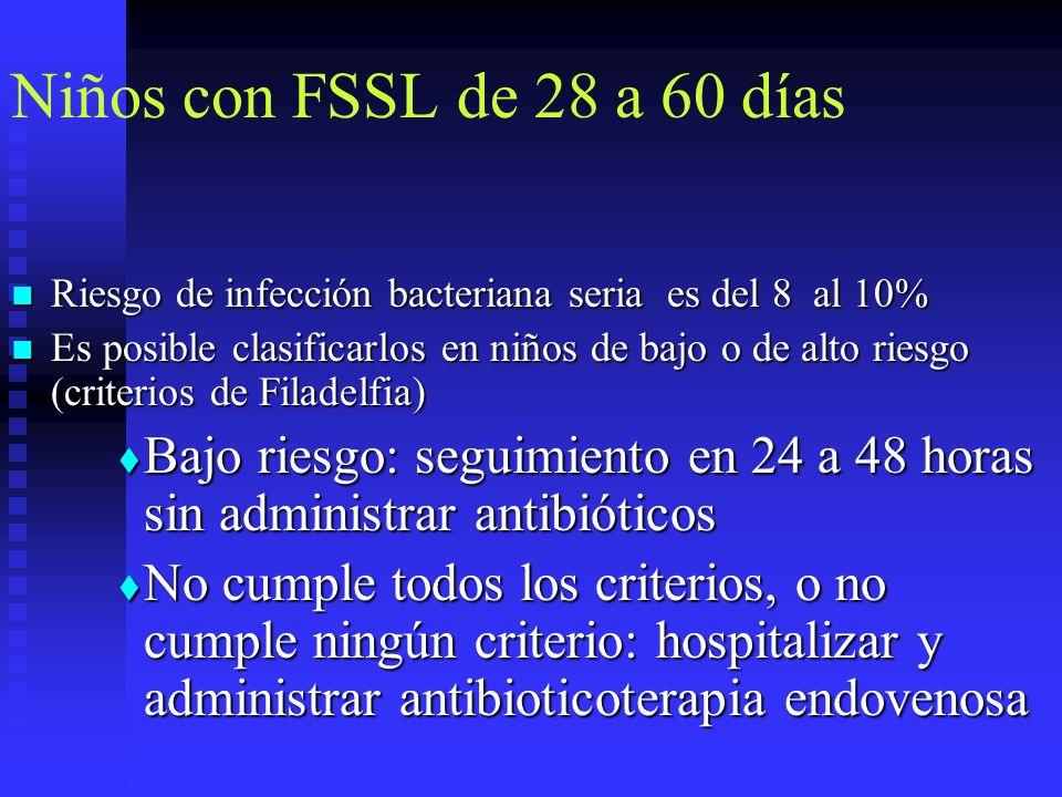 Niños con FSSL de 28 a 60 días Riesgo de infección bacteriana seria es del 8 al 10% Riesgo de infección bacteriana seria es del 8 al 10% Es posible cl