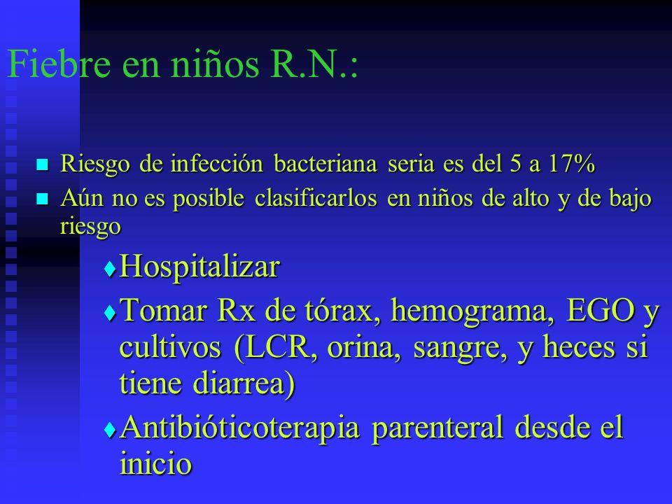 Fiebre en niños R.N.: Riesgo de infección bacteriana seria es del 5 a 17% Riesgo de infección bacteriana seria es del 5 a 17% Aún no es posible clasif