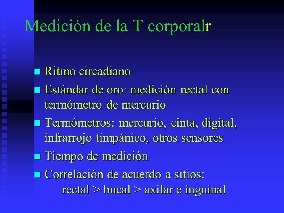 Medición de la T corporalr Ritmo circadiano Ritmo circadiano Estándar de oro: medición rectal con termómetro de mercurio Estándar de oro: medición rec