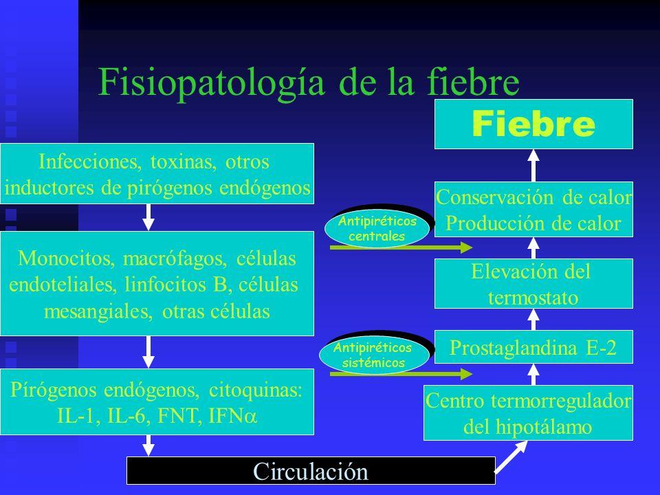 Fisiopatología de la fiebre Monocito/ macrófago Monocito/ macrófago Estímulo endógeno o exógeno Célula del huésped PLA 2 Araquidonato Ciclooxigenasa Célula del huésped PLA 2 Araquidonato Ciclooxigenasa PGE 2 Citoquinas pirogénicas en circulación (IL-1, FNT.