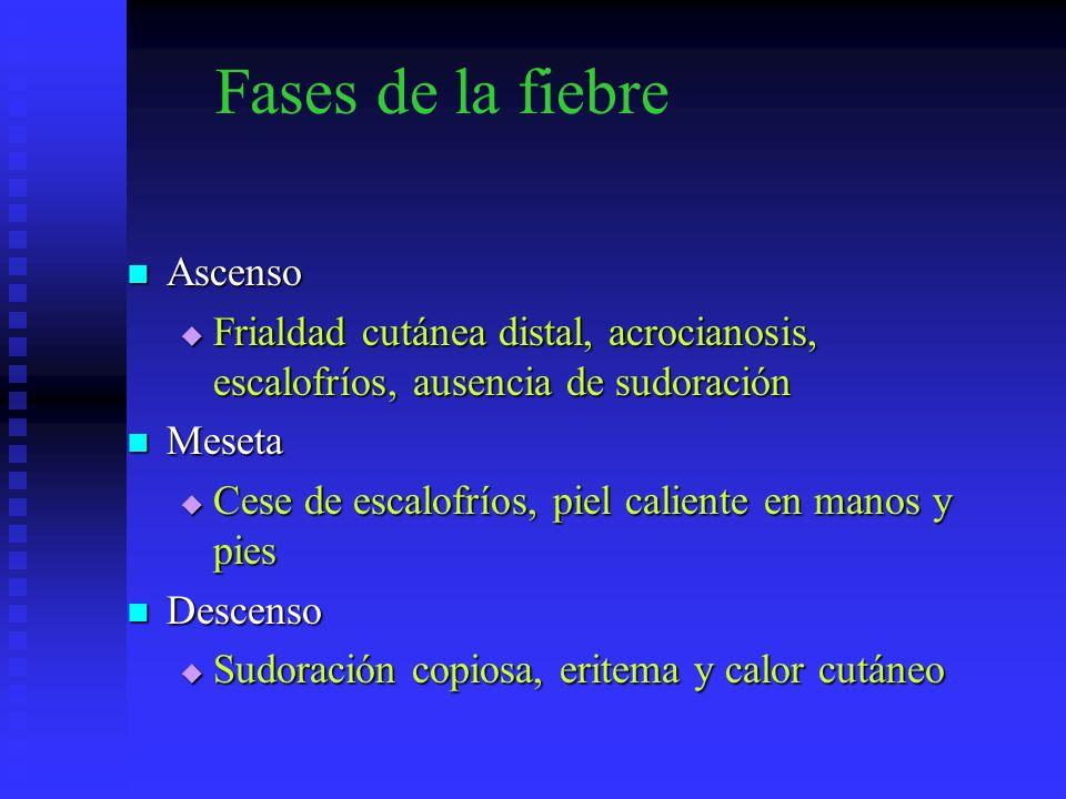 Fases de la fiebre Ascenso Ascenso Frialdad cutánea distal, acrocianosis, escalofríos, ausencia de sudoración Frialdad cutánea distal, acrocianosis, e