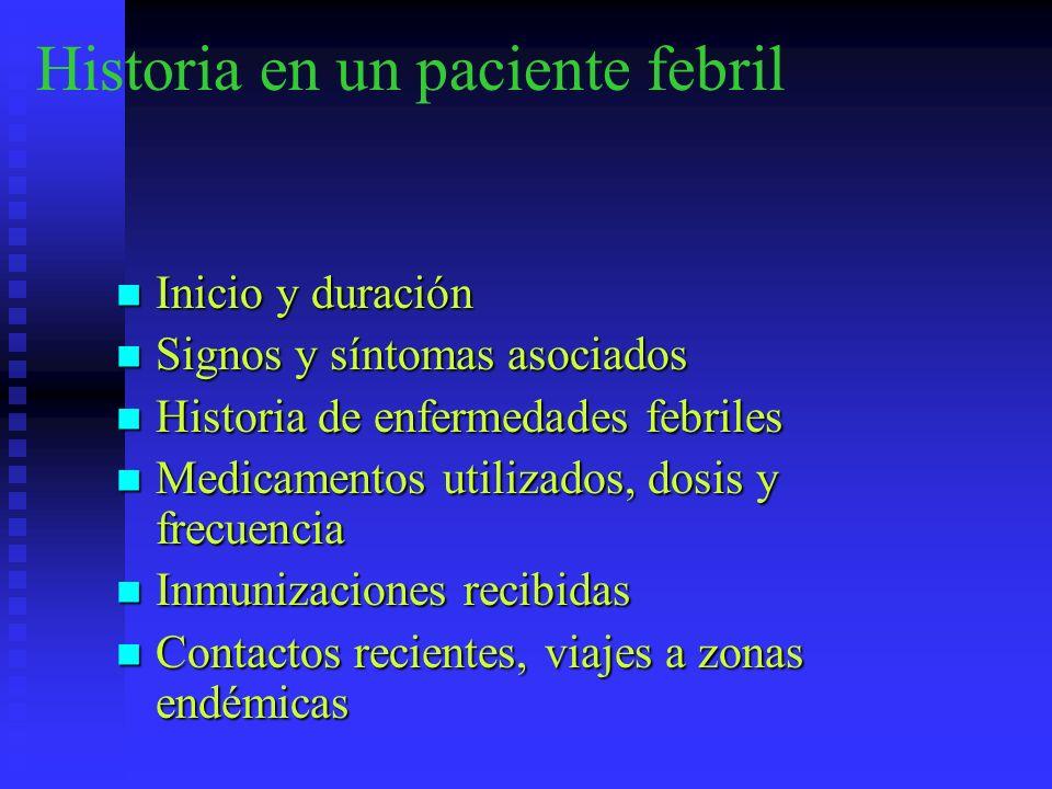Historia en un paciente febril Inicio y duración Inicio y duración Signos y síntomas asociados Signos y síntomas asociados Historia de enfermedades fe