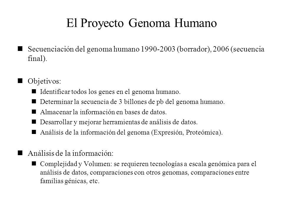 El Proyecto Genoma Humano Secuenciación del genoma humano 1990-2003 (borrador), 2006 (secuencia final). Objetivos: Identificar todos los genes en el g