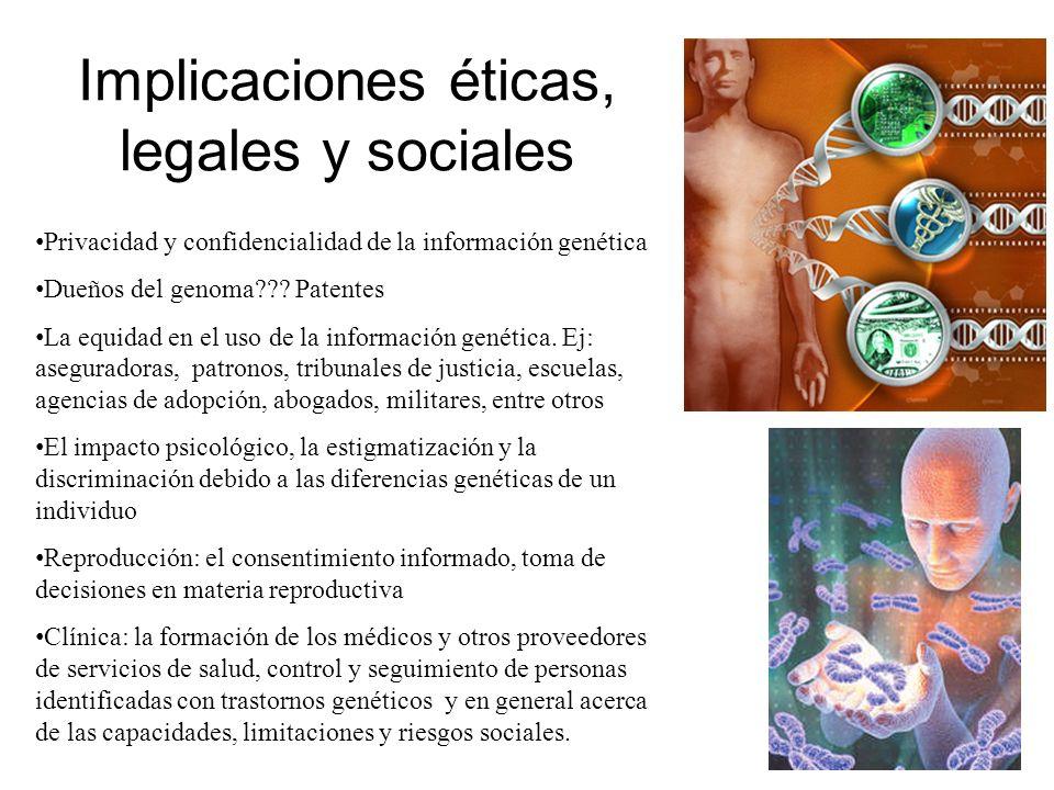 Implicaciones éticas, legales y sociales Privacidad y confidencialidad de la información genética Dueños del genoma??? Patentes La equidad en el uso d