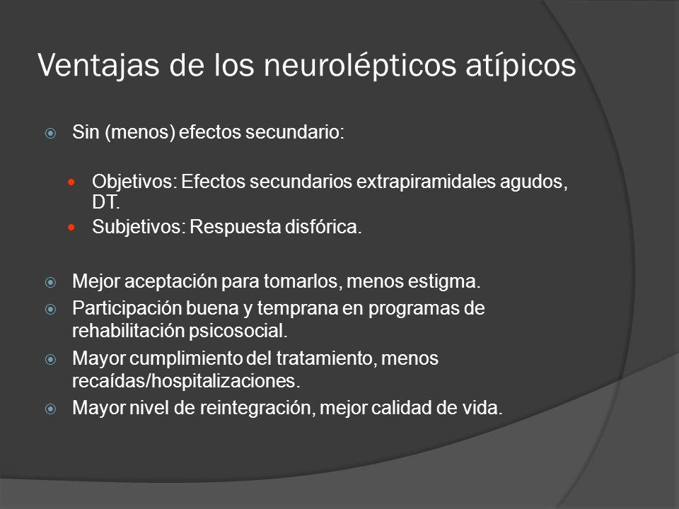Ventajas de los neurolépticos atípicos Sin (menos) efectos secundario: Objetivos: Efectos secundarios extrapiramidales agudos, DT.