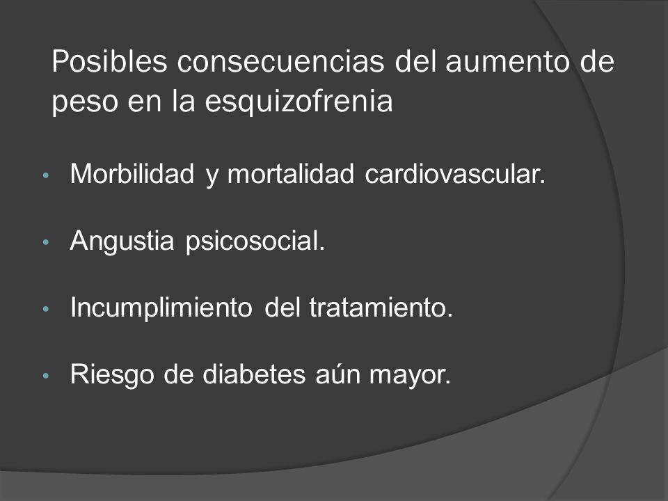 Posibles consecuencias del aumento de peso en la esquizofrenia Morbilidad y mortalidad cardiovascular.