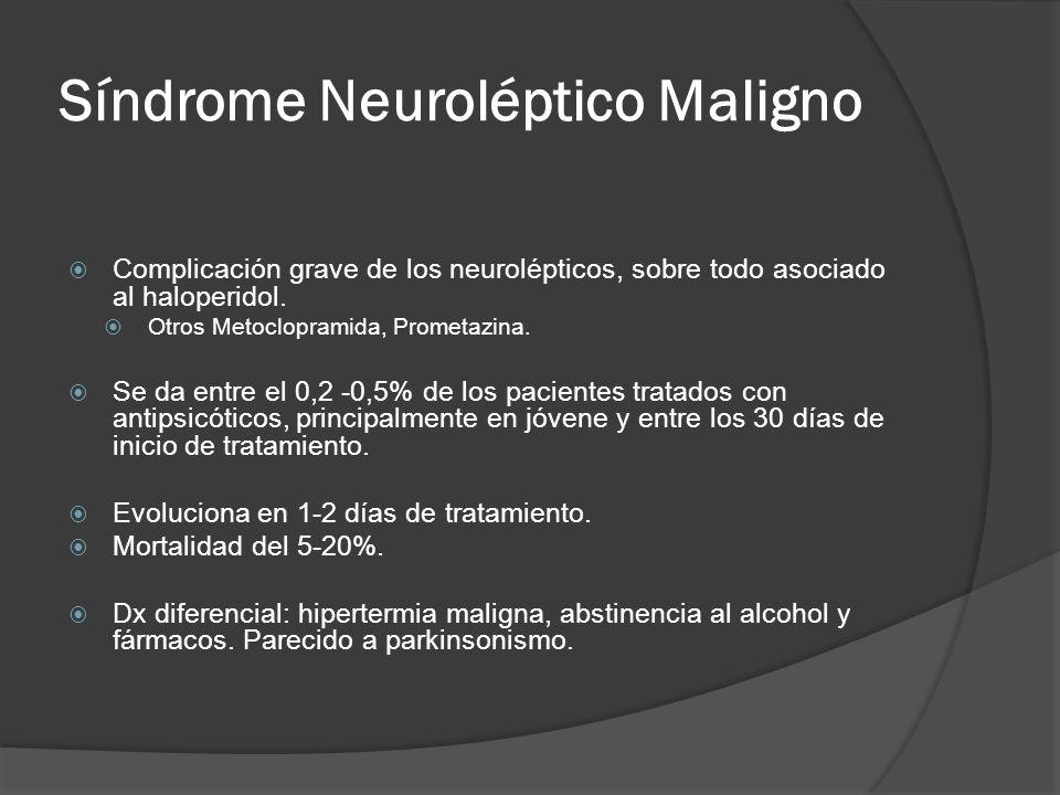 Síndrome Neuroléptico Maligno Complicación grave de los neurolépticos, sobre todo asociado al haloperidol.