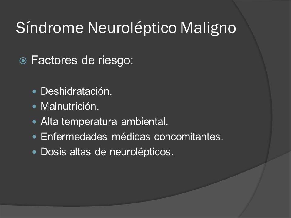 Síndrome Neuroléptico Maligno Factores de riesgo: Deshidratación.