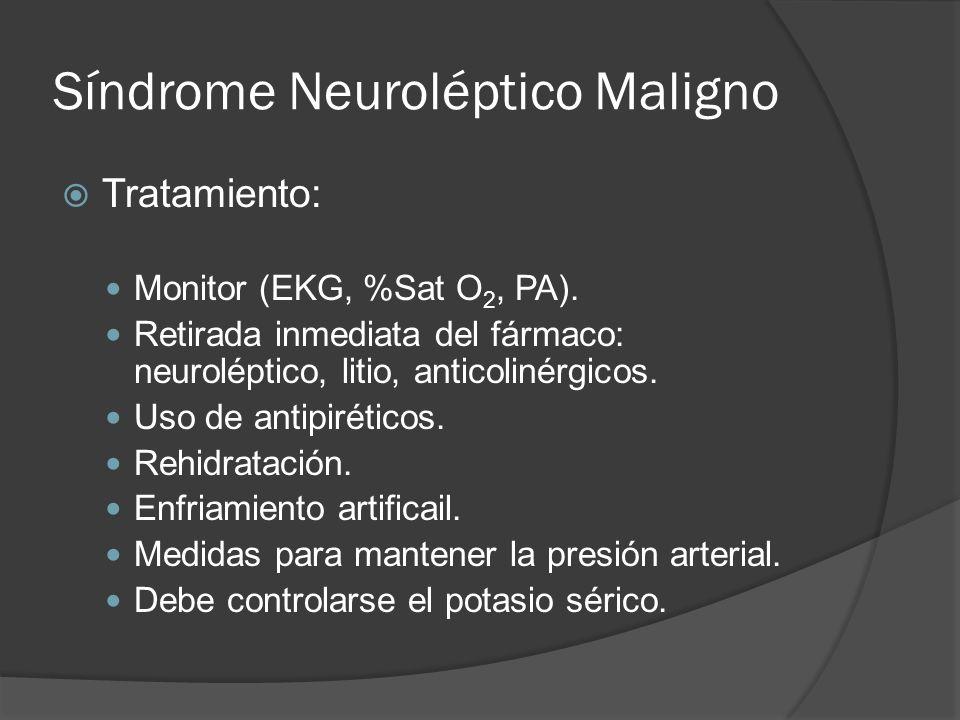 Síndrome Neuroléptico Maligno Tratamiento: Monitor (EKG, %Sat O 2, PA).