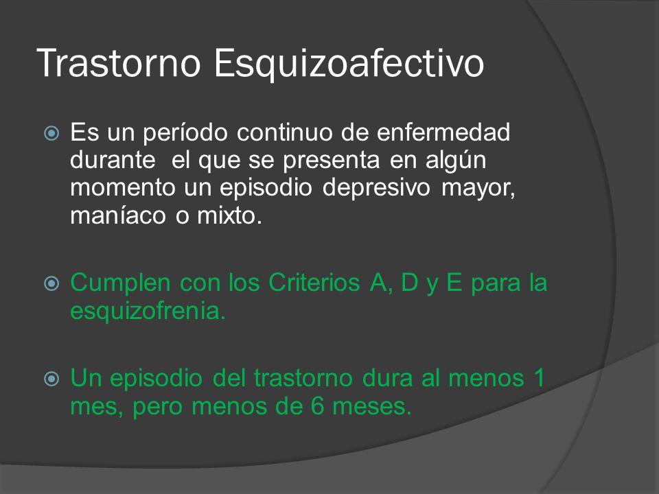 Trastorno Esquizoafectivo Es un período continuo de enfermedad durante el que se presenta en algún momento un episodio depresivo mayor, maníaco o mixto.