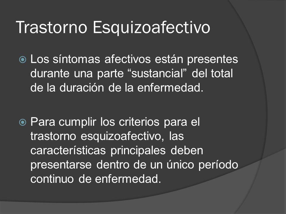 Trastorno Esquizoafectivo Los síntomas afectivos están presentes durante una parte sustancial del total de la duración de la enfermedad.