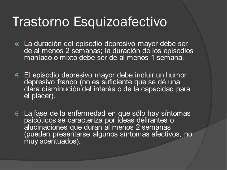 Trastorno Esquizoafectivo La duración del episodio depresivo mayor debe ser de al menos 2 semanas; la duración de los episodios maníaco o mixto debe ser de al menos 1 semana.