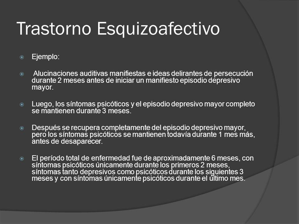 Trastorno Esquizoafectivo Ejemplo: Alucinaciones auditivas manifiestas e ideas delirantes de persecución durante 2 meses antes de iniciar un manifiesto episodio depresivo mayor.