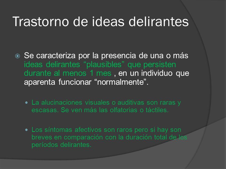 Trastorno de ideas delirantes Se caracteriza por la presencia de una o más ideas delirantes plausibles que persisten durante al menos 1 mes, en un individuo que aparenta funcionar normalmente.