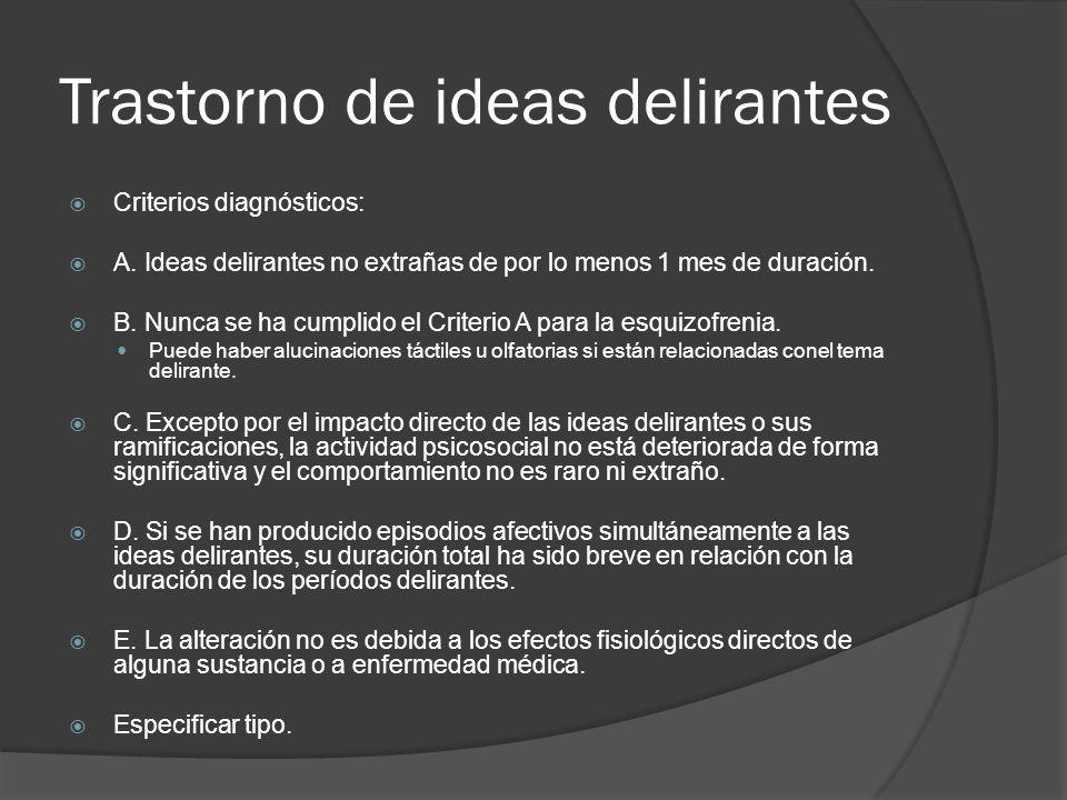 Trastorno de ideas delirantes Criterios diagnósticos: A.