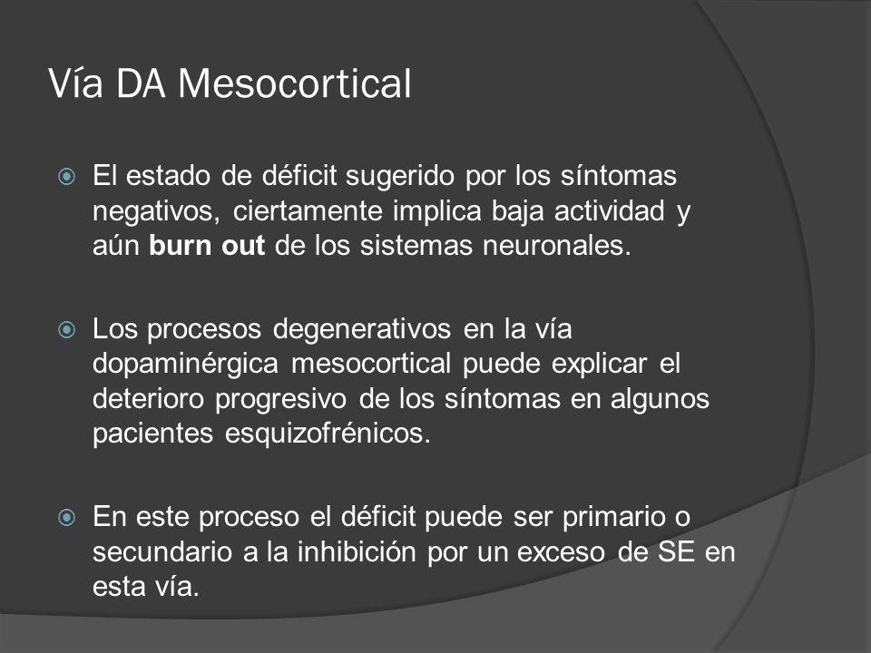 Vía DA Mesocortical El estado de déficit sugerido por los síntomas negativos, ciertamente implica baja actividad y aún burn out de los sistemas neuronales.