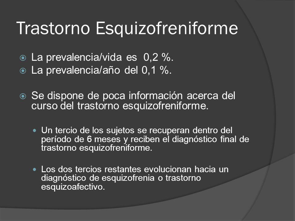 Trastorno Esquizofreniforme La prevalencia/vida es 0,2 %.