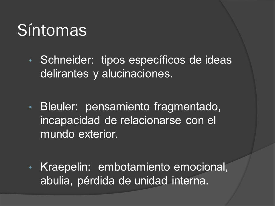 Síntomas Schneider: tipos específicos de ideas delirantes y alucinaciones.
