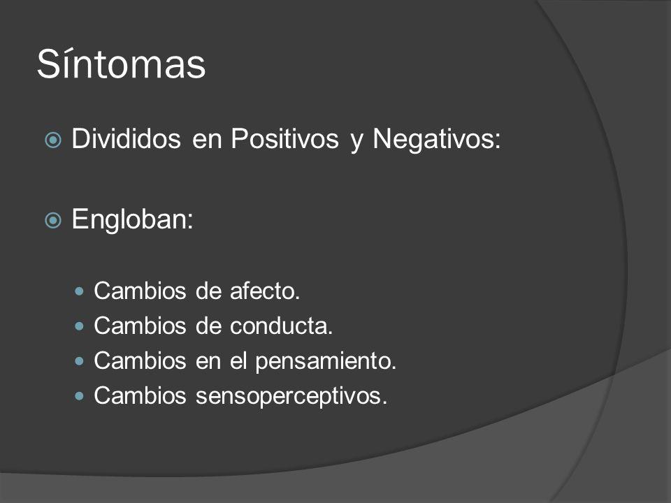 Síntomas Divididos en Positivos y Negativos: Engloban: Cambios de afecto.