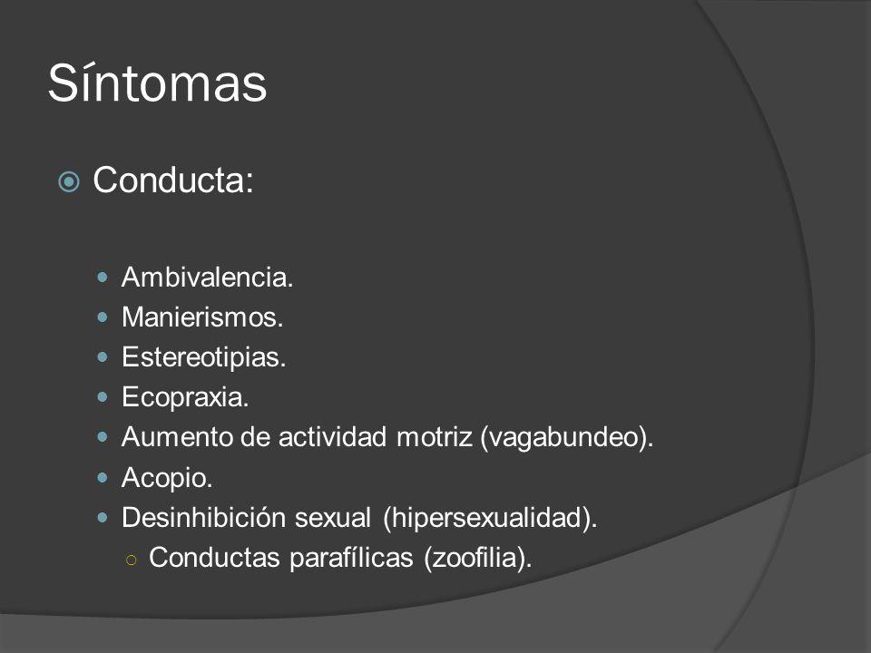 Síntomas Conducta: Ambivalencia.Manierismos. Estereotipias.