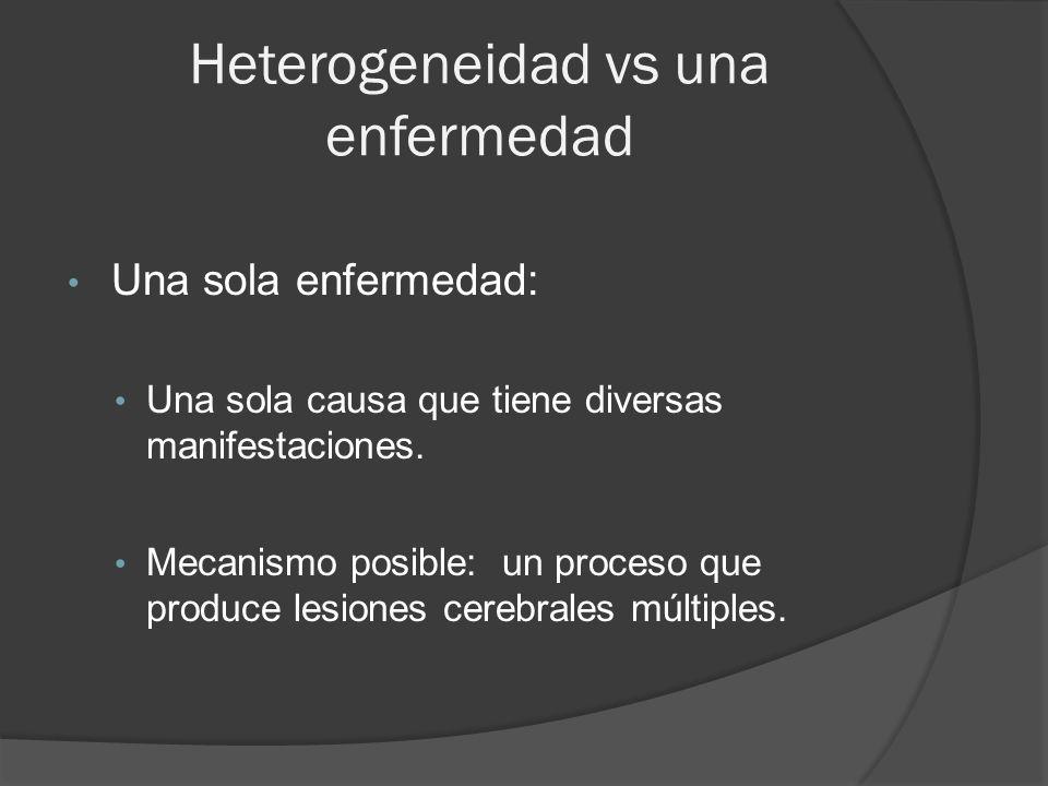 Heterogeneidad vs una enfermedad Una sola enfermedad: Una sola causa que tiene diversas manifestaciones.