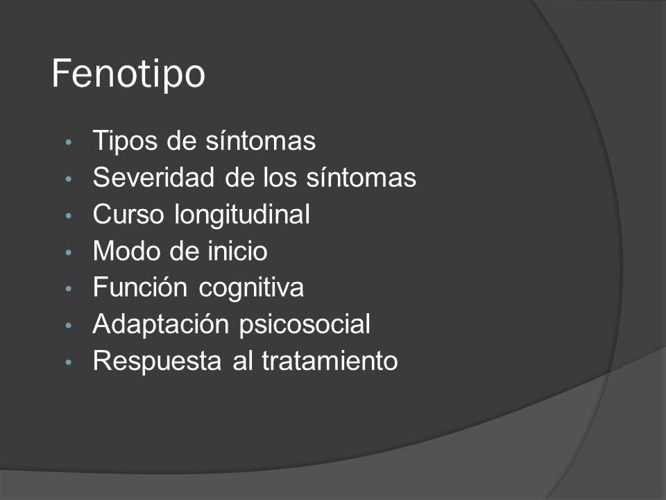 Fenotipo Tipos de síntomas Severidad de los síntomas Curso longitudinal Modo de inicio Función cognitiva Adaptación psicosocial Respuesta al tratamiento
