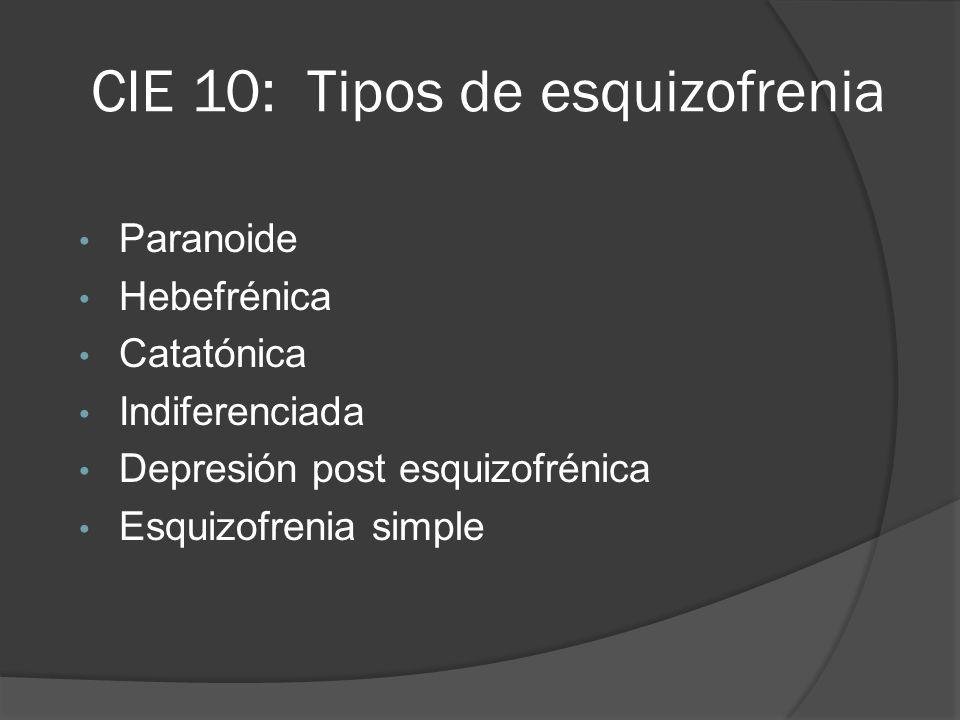 CIE 10: Tipos de esquizofrenia Paranoide Hebefrénica Catatónica Indiferenciada Depresión post esquizofrénica Esquizofrenia simple