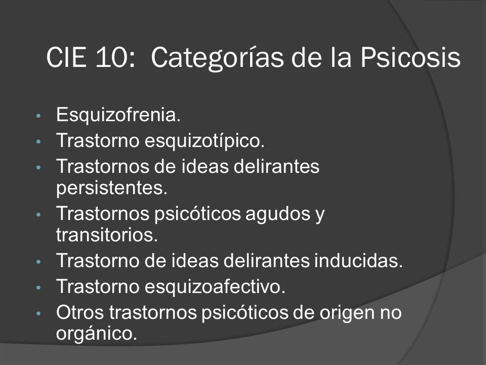 CIE 10: Categorías de la Psicosis Esquizofrenia.Trastorno esquizotípico.